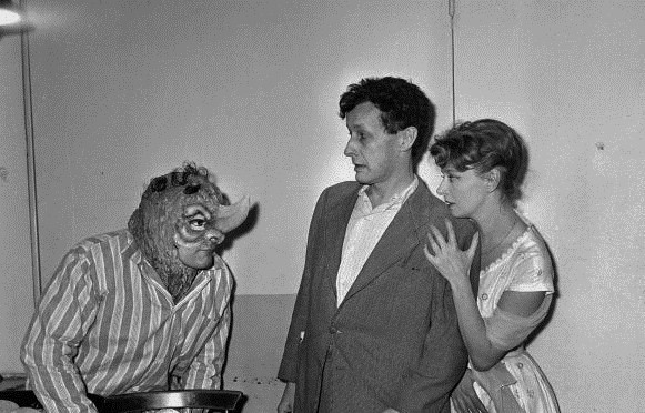Rhinoceros   William Sabatier, Jean Louis Barrault and Simone Velere in a production by the Compagnie Renaud-Barrault at Theatre de France Odeon, Paris, January 19606.jpg